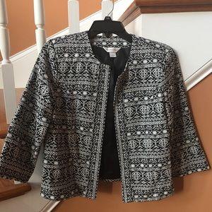 Christopher & Banks S tribal pattern crop jacket